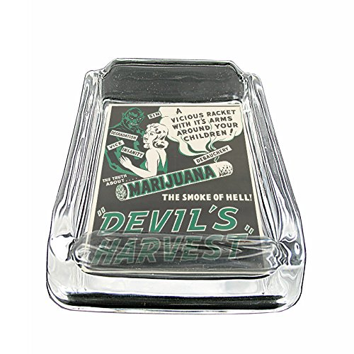 Vintage-Poster-The-Devils-Harvest-Marijuana-S302-Glass-Square-Ashtray-4x3-Sturdy-Cigarette-Smoking-Tricks-Illusions