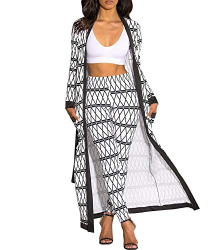 Plus Stripe Pant Set - Uni Clau Womens Casual 2 Piece Outfits Stripe Floral Printed Open Front Cardigan and Bodycon Long Pant Black S