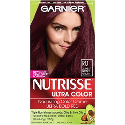 Garnier Nutrisse Ultra Color Nourishing Hair Color Creme, R0 Darkest Intense Auburn (Packaging May - Garnier Hair Auburn Color