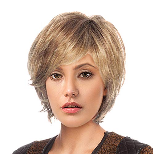 BLONDE UNICORN Natural Human Hair Wigs for Women Short Style Hair Wig (#30/613)