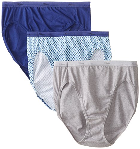 Hanes Women's Cotton Hi-Cut Panty, Assorted, 7 (Pack of 3)
