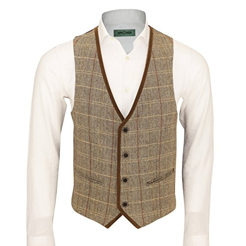 (Mens Vintage Herringbone Tweed Check Velvet Trim Retro Tailored Fit Waistcoat Vest in Oak Brown Grey [Chest UK 54 EU 64,Light Oak Brown ])