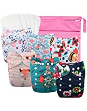 Babygoal Adjustable Reuseable Pocket Cloth Diaper Nappy,6pcs Diapers+6 Inserts