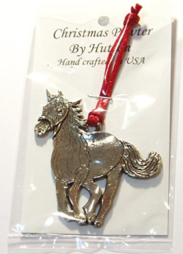 Amazon.com: Running horse Christmas ornament, Fine Pewter, made in ...