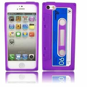 Retro Cassette Silicone Case Cover Skin For Apple iPhone 5 / Purple