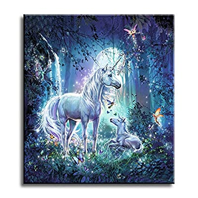 Shukqueen DIY Paint by Numbers for Adults DIY Oil Painting Kit for Kids Beginner - Unicorn 20x26 Inch (Without Frame): Arts, Crafts & Sewing