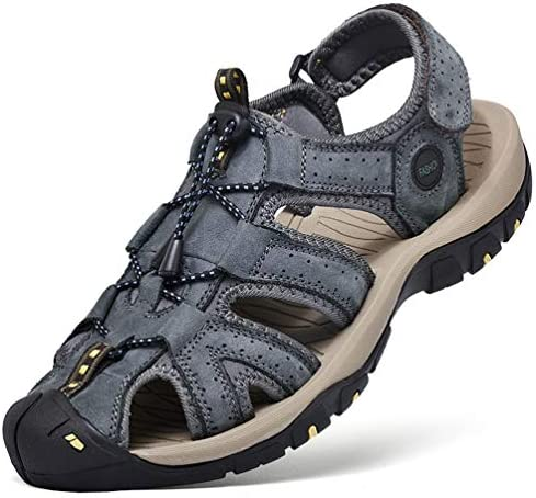 [スポンサー プロダクト][Firtsagy] スポーツサンダル アウトドアサンダル 本革 水陸両用 通気 耐久 涼しい 歩きやすい 防滑 防臭 吸汗 速乾 メンズ サンダル ブラウン/ブラック/ブルー
