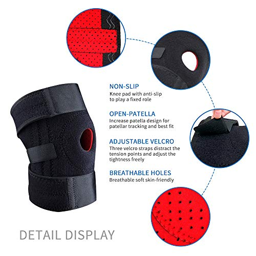 HOPAI Knee Support for Men and Women Adjustable Open-Patella Neoprene Knee Brace with Anti-Slip Strips - For Arthritis, Joint Pain, Meniscus Pain Relief, Sports Running Injury Rehabilitation