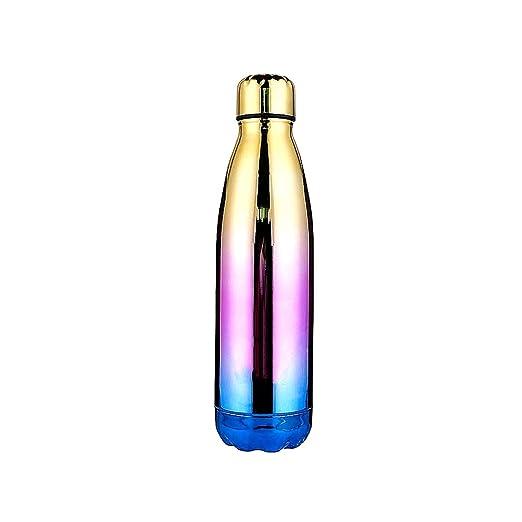 Snner Botella de Acero Inoxidable de 500 ML de Agua con Aislamiento de vacío del Color del gradiente de Taza de Agua de Doble Pared (Amarillo ...
