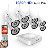 [2019 Update] Security Camera System Wireless,Safevant 8CH 1080P Wireless Security Camera System(2TB Hard Drive),8PCS 1080P Wireless Security Cameras with Night Vision, Auto Pair,No Monthly Fee
