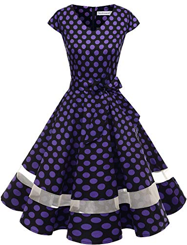 Gardenwed Women's 1950s Rockabilly Cocktail Party Dress Retro Vintage Swing Dress Cap-Sleeve V Neck Black Purple Dot -