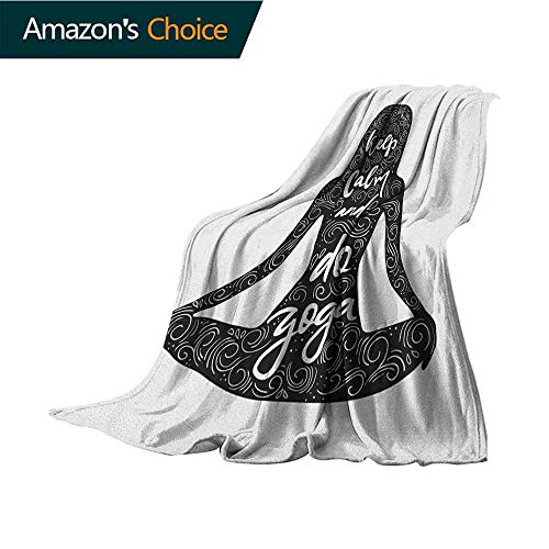 - Keep Calm Children's Blanket,Do Yoga Quote in Girl Shape in Lotus Pose with Swirls and Calligraphy Art Text Microfiber All Season Blanket for Bed or Couch Multicolor,35