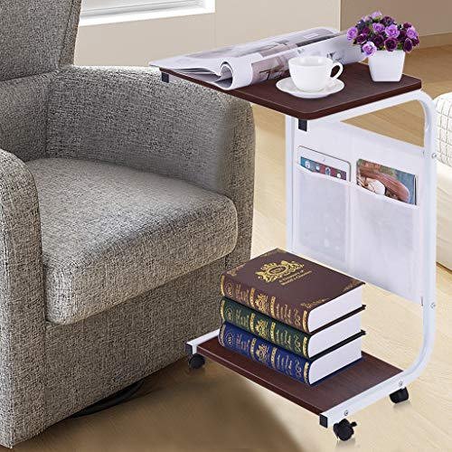 (Mobile Cart Tray Table with Storage Basket C-Shape Laptop Stand Desk/Snack Table/Sofa Couch End Table/Bedside for Living Room/Bedroom/Home Office by Anewoneson from USA )