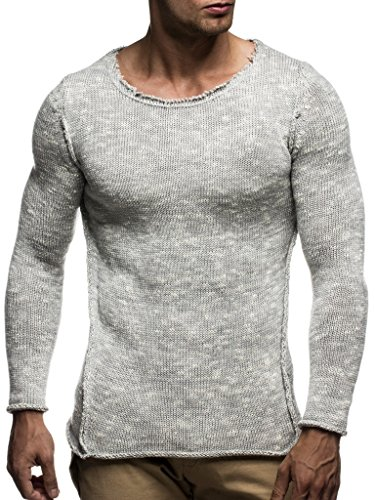 (LEIF NELSON men's knitted pullover sweater hoodie jacket long sleeve slim fit)