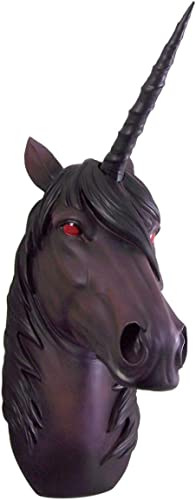 Deep Purple Gothic Evil Red Eyed Unicorn Head Wall Mount 15 3/4 Inch