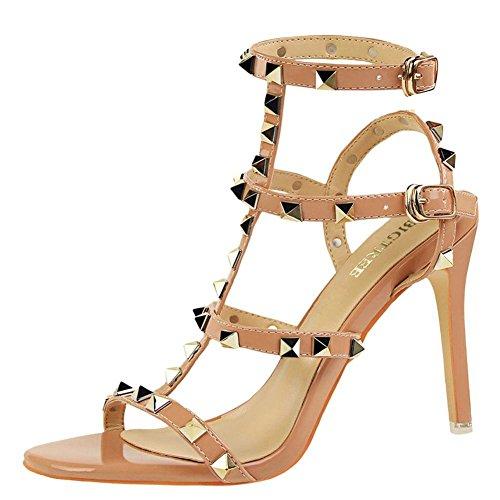YE Damen High Heels Stiletto T Spangen Sandalen mit Nieten Ankle Strap Sandaletten 10cm Absatz Party Schuhe Aprikose
