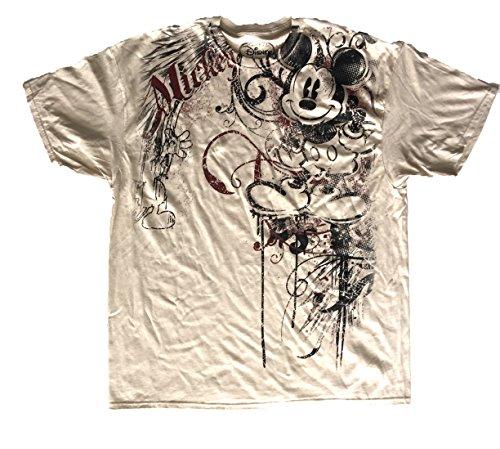 Disney Adult Oversize Heraldland Mickey Mouse T Shirt - Sand (Large) (Adult Disney Characters)