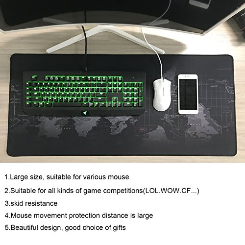 BIFY World Map Extended Gaming Mouse Pad Large Size 900x400mm Office Desk Pad Mat with Stitched Edges for PC Laptop Computer - World Map Photo #7