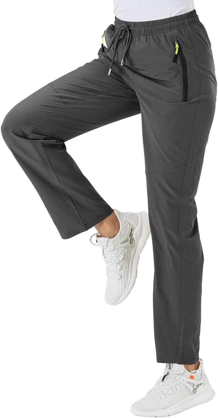 BGOWATU Women's Quick Dry Hiking Pants Outdoor Lightweight Stretch Mountain Trousers with Zipper Pockets