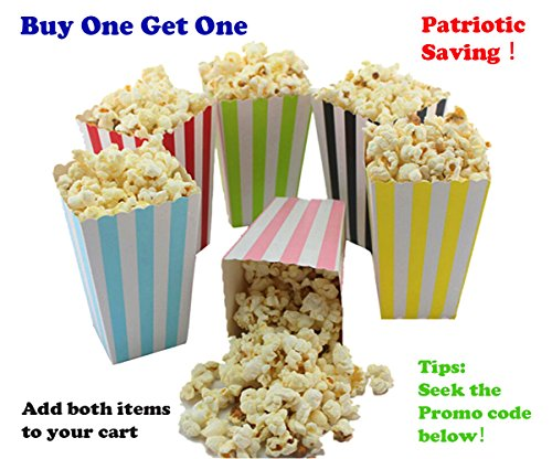 Colorful Striped Popcorn Boxes Cardboard Candy Container for Carnival Party Movie, 12 Pieces