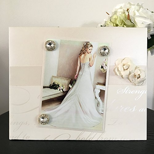 Love Forever Rhinestone (Elegant Wedding With Rhinestones - Cherish Strength Love Forever Together Cream And Gold Magnetic Picture Frame Handmade Gift Present Home Decor Size 9 x 11 Holds 5 x 7 Photo)