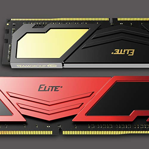 TEAMGROUP Elite Plus DDR4 8GB Single 2400MHz PC4-19200 CL16 Unbuffered Non-ECC 1.2V U-DIMM 288 Pin PC Computer Desktop Memory Module Ram Upgrade - Red & Black - TPRD48G2400HC1601