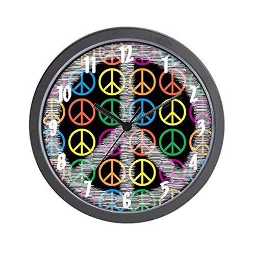 CafePress - Peace Signs Wall Clock - Unique Decorative - psychedelic wall decor