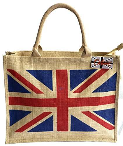 British Flag Colors (OCTAVE Ladies Summer Beach Tote Handbags Collection - Union Jack Design [Size One Size, Colour Union Jack Design - Beige] - [INTERNAL REF: TUKX-27])