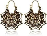 Vintage Mandala Flower Drop Dangle Earring for Women Girl Tribal Hollow Floral Pendant Earrings