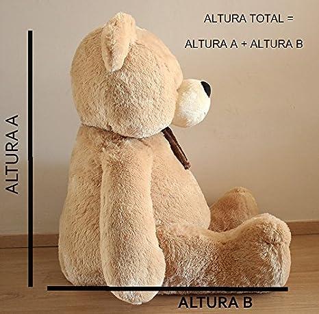 Oso de peluche con corazón personalizable (135cm (altura total), Blanco): Amazon.es: Juguetes y juegos