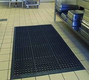 Commercial Restaurant Anti-Fatigue Rubber Floor Mat 36in x 60in-Black