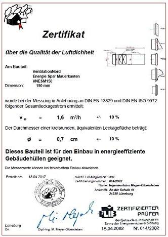 Muro Buzón Campana Acero inoxidable 150 mm Blower Door prueba Certificado vnesm150wshe: Amazon.es: Grandes electrodomésticos
