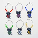 Cheers Metal Wine Charms - Owl (Set of 6)