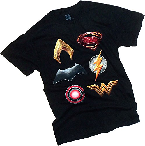 justice+league Products : Stacked Logos -- Justice League Movie Adult T-Shirt