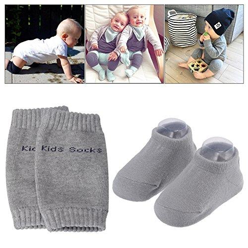 PChero Unisex Bebé Recién Nacido Infantil de grosor antideslizante para calcetines + infantil bebé rodilla Pad Rastreo Seguridad Protector - 0 A 24 meses