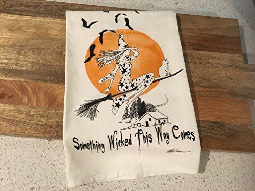 Halloween Witch Flour Sack Tea Towel -