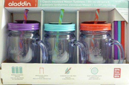 Aladdin 3 Classic Mason Jar Tumblers w/Straws & Lids Purple Turquoise Red 20 Oz