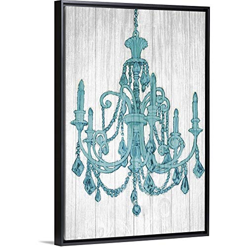 Luxurious Lights III Turquoise Black Floating Frame Canvas Art, 42