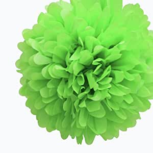 Dress My Cupcake 5-Inch Kiwi Green Tissue Paper Pom Poms, Luau Decorations/Luau Party Supplies and Decorating Ideas, Set of 8
