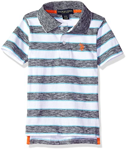 U.S. Polo Assn. Boys' Little Short Sleeve Striped Polo Shirt, Space Dyed slub Black, 5/6