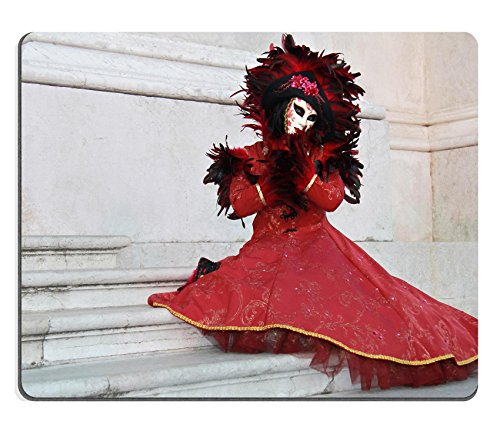 [Liili Mouse Pad Natural Rubber Mousepad IMAGE ID: 15091568 Beautiful venetian mask woman posing on marble stairs of Saint George Isle] (Romantic Time Period Costumes)
