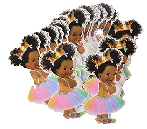 - Rainbow Princess Party Cut-Outs, African American Unicorn Princess Decor for Royal Birthday Baby Shower