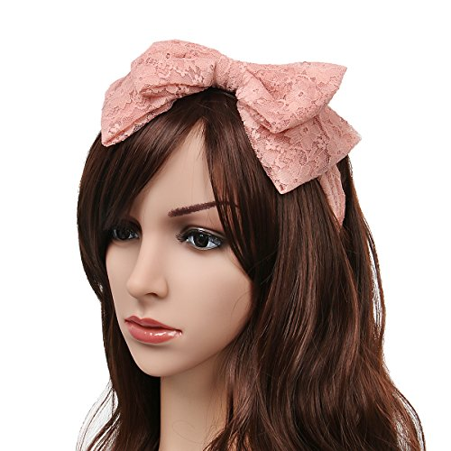 80's Themed Halloween Costume Ideas (80's Women Girls Lace Headband with Satin Bow Hair Scarf Headpiece 80s Themed Party Costume Cosplay Headwear Accessory (Pink))