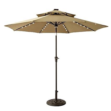Charming FLAMEu0026SHADE 9ft Solar Light Patio Umbrella, Double Top Round LED Outdoor  Market Parasol With Crank