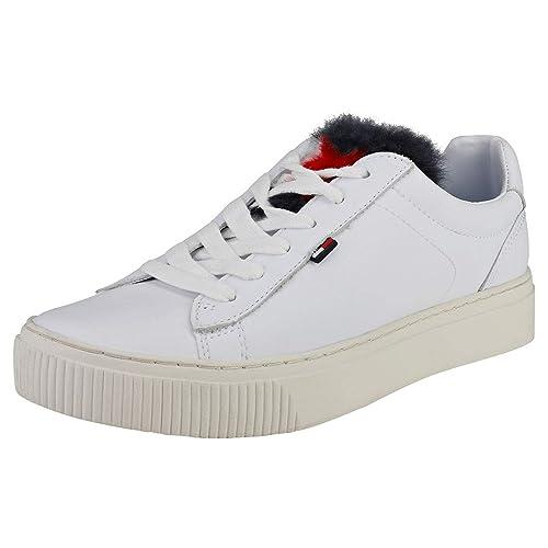 Tommy Hilfiger Mujer Blanco Funny Fur Star Zapatillas: Amazon.es: Zapatos y complementos