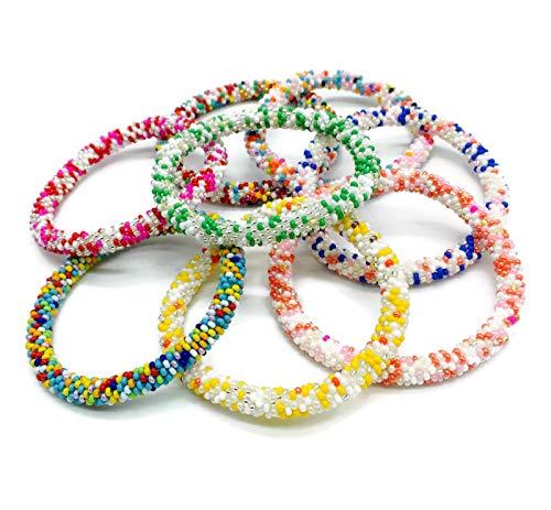 Kissed Karma Half Dozen Set of Vibrant and Colorful Confetti Nepal Bracelets. 6 Pcs Set of Random Patterns.