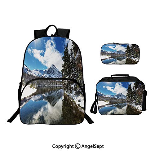 Fashion Casual School Student Backpack,Tranquil View of Glacier National Park in Montana Water Reflection Quiet Peaceful,Lightweight Daypack With Lunch Bag And Pencil Case For Girls