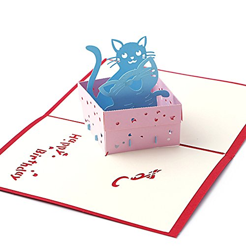 Wivily Handmade 3D Pop Up Greeting Cards With Lovely Cat House Christmas Or Birthday Gifts For Lover