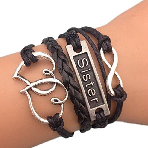 Bracelet sister noir double coeur enlacés et lien infini