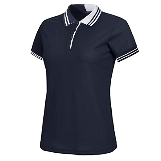 4183e9e850c Polo Shirt for Women Striped Color Block T-Shirts Short Sleeve 3-Button  Slim fit Golf Polo Jersey at Amazon Women s Clothing store